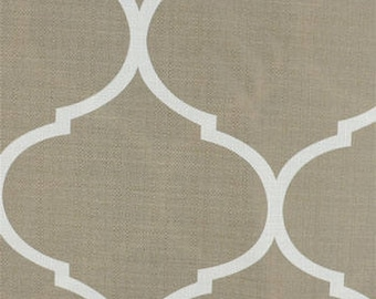 Moorish tile pattern curtain panels neutral custom length heading options- 3 color options