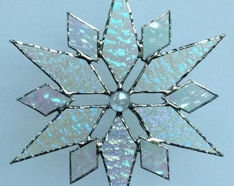 stained glass snowflake suncatcher  (design 8B)