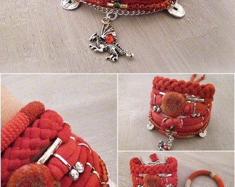 Gypsy Soul Red Bohemian Bracelet Pack Multistrand Cuff Boho Chic Jewelry Free Spirit Dragon Charm Bracelet Chinese Coins Jewelry