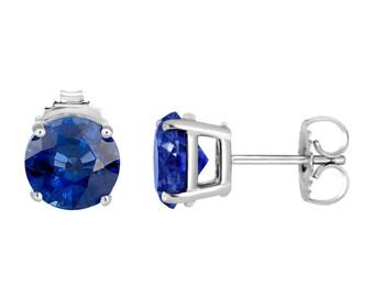 2 Carat Sapphire Earrings, Platinum Blue Sapphire Stud Earrings, Certified Handmade
