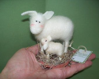 Love Ewe Mom Wool Felted Sheep and Lamb Figurine