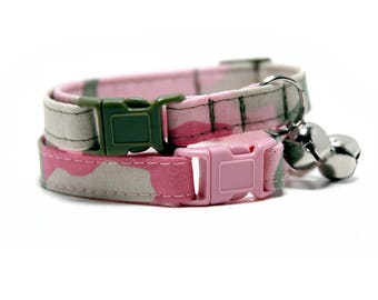 Pink Camo kitty collar with pink or green breakaway buckle