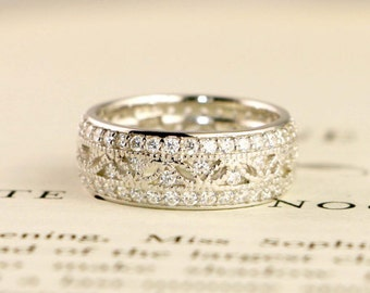 Art Deco Wedding Band - Wide Band Eternity Ring - Micro Pave Anniversary Ring - Sterling Silver Ring - Cubic Zirconia Pave Ring - Vintage
