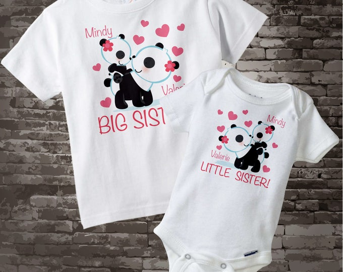 Personalized Big Sister Little Sister Outfit, Panda Bears Shirt, Big Sister and Little Sister Onesie Outfit 03102012b