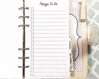 Personal Size To Do List, Checklist Inserts for Ringbound Planners