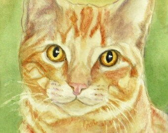 Orange Tabby Cat Art Print, Cat Watercolor & Colored Pencil Print, Tabby Cat Art, Orange Tabby Portrait, from Painting by P. Tarlow