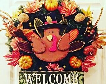 Turkey Door Wreath, Turkey Wreath, Wreath With Turkey, Thanksgiving Door Decor, Thanksgiving Decor, Thanksgiving Wreath Outdoors,  Turkey