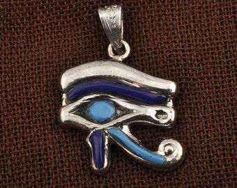 Eye Of Horus / Horus Necklace / Silver eye of Horus Pendant filled with colored stone pendant/ Eye of Horus Jewelry /Egyptian Jewelry