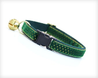 "Velvet Cat Collar - Breakaway Safety Buckle or Non-Breakaway - ""Greensleeves"" - Emerald Green & Gold Dots - Sizes for Cat, Kitten, Small Dog"