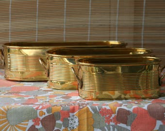 Set of 3 Vintage Brass Planters with handles Nesting Planter Set or Brass Nesting Organizers