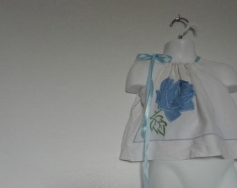 Baby Girl Pillowcase Dress. Upcycled Baby Girls Clothing. Upcycled Pillowcase Dress. Vintage Embroidery. Rose Applique