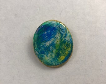 Blue Rainbow Pin. Abstract Pin. Blue and Turquoise Pin. Clay pin