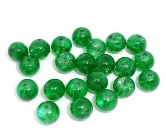 Round glass beads, green, Crackle effect.
