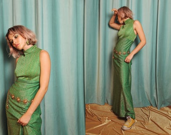 Vintage 1960s Green Psychedelic Lurex Mock Neck Maxi Dress with Matching Cardigan Set Contrast Pattern Sleeveless size Medium