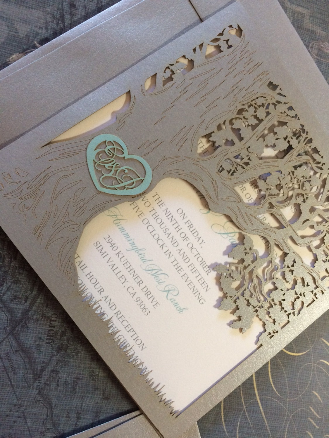 Parts Of Wedding Invitation: Custom Laser Cut Wedding Invitation Love Story Tree