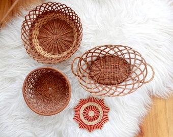 Vintage Boho Wicker Wall Baskets Set / Boho Wall Decor  / Rustic Wall Basket Set / Instant Basket Collection / Boho Decor
