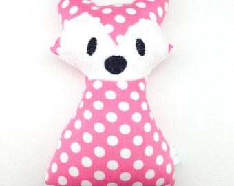 Pink Polka Dot Fox Rattle Baby Shower New Baby Handmade Gift