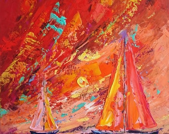 Red; Original seascape oil painting; sea painting; sailing boats; boats painting; ships oil psinting