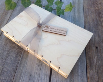 Personalized Wood Notebook - Handmade Journal - Sketchbook  - Wedding Guest Book -Our Vows cabin guestbook rustic memorial- vacation home
