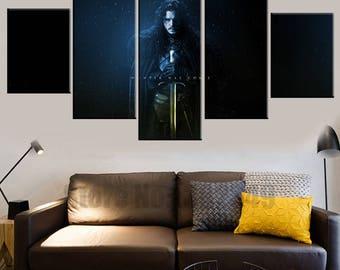 5 Panels Game of Thrones Jon Snow Canvas Art Multi Grouped Art Work asoiaf GOT