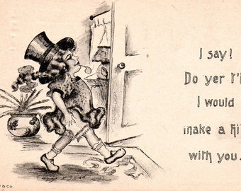 VINTAGE  POSTCARD, 1910s, comic,  early Women's independence card, collected by junqueTrunque