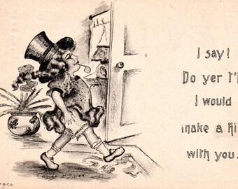 VINTAGE carte postale des années 1910, carte de femmes comique, au début de l'indépendance, recueillis par junqueTrunque