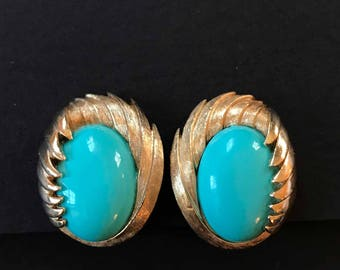 Crown Trifari Brushed Gold and Turquoise Lucite Earrings