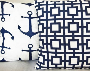 Navy White Throw Pillows Geometric Nautical Cushion COVER Navy Two Coastal Beach Pillows Couch Sofa Anchors Cottage Home Decor Navy Shams