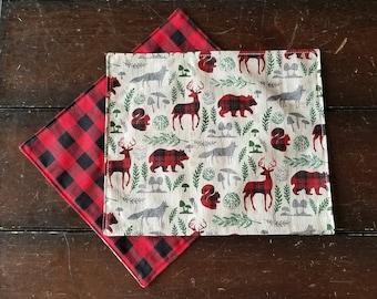 Cloth Napkins, Holiday Woodland Animals Napkins, Plaid Holiday Napkins, Reindeer napkins, Buffalo Plaid Napkins, Christmas by Sew4MyLoves