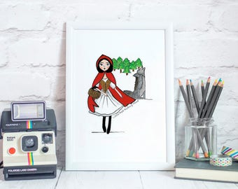 Little Red Riding Hood, Fairytale Art, Nursery Prints, Kids Room Art, Girls Room Decor, Kids Illustration, Art for Girls Room, Children Room