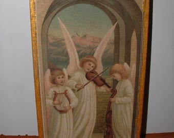 Decoupage Picture Angels handmade art Paper Painting