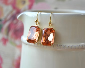Large peach rectangular earrings - Glass set stones - Gold vermeil hooks