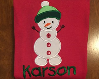 Red and Green Christmas Snowman Embroidered Baby Bodysuit or Shirt
