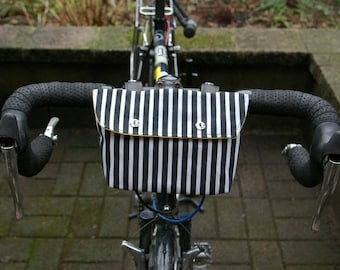 Bike Handle Bar Bag / Bicycle Bag / Clutch - Waxed Cotton with leather straps
