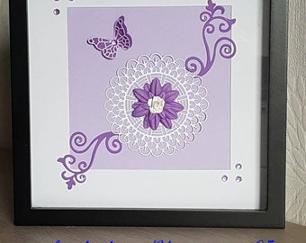 Flower and arabesque scrapbooking picture - purple and white