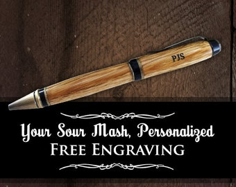 Authentic Jack Daniel's Whiskey Barrel Pen - Personalized White Oak Wood Writing Pen - FREE Engraving