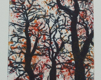 Original Monoprint/Drypoint Print - Autumn Trees - Version 3