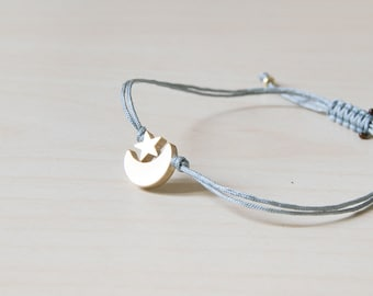 Moon bracelet, gold moon bracelet, moon charm bracelet, moon star, summer, star bracelet, moon and star, thread bracelet, gold star