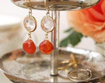 Crystal and Carnelian Gold Drop Earrings