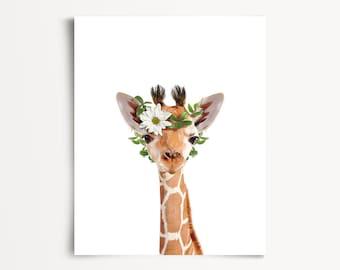Animals with flower crowns, INSTANT DOWNLOAD, Giraffe print, The Crown Prints, Zoo animal nursery, Safari animals, Girls room wall art