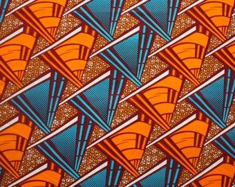 African Wax Print, Orange and Turquoise Ankara fabric, African fabric 6 yards, 5.5 metres, Dressmaking fabric, Triangular Print