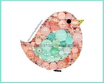 Pépinière oiseaux bouton Art imprimé bébé oiseau menthe et couleurs corail Birdie petit bouton mural encadré peinture à oiseau décoration chambre d'enfant
