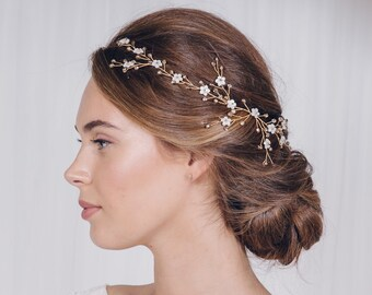 Gold wedding hairvine, pearl flower gold hair vine, gold floral bridal hairvine, gold mother of pearl hairvine, silver hairvine - Evie