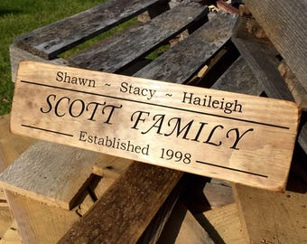 Personalized Family Name Sign, Engraved Wood Sign, Rustic Decor, Wedding Name Sign, Housewarming Gift, Wedding Gift, Custom Engraved