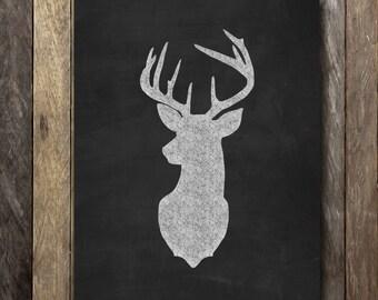 Deer Chalkboard Chalkart Trendy 8x10 Print - Instant Download