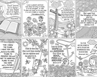 """8 Printable Coloring Scripture Cards; Eight 3.4"""" x 4.9"""" Bible Coloring Cards; Digital Downloads"""