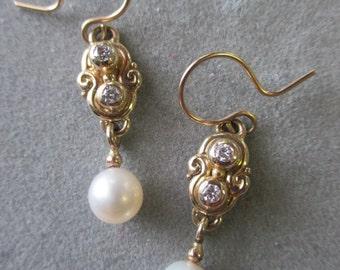 14Kt. Gold Diamond & Pearl Bridal Earrings #ER50YG