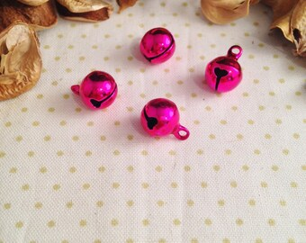 4 bells or Bell charms pendants, pink dark, shiny
