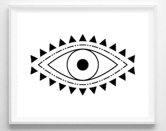 Evil Eye Print, Spiritual Print, Evil Eye Art, Spiritual Art, Boho Print, Boho Art, Digital Download, Printable Wall Art, Digital Print