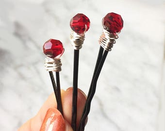Red Swarovski Crystal Bobby Pins Hair Clips for Women